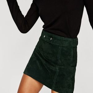 Zara Dark Green Suede Mini Skirt